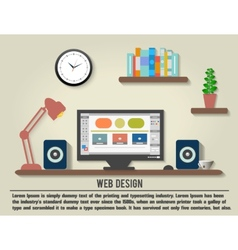 Modern office interior with designer desktop vector image