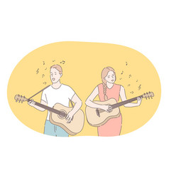 music band playing guitar singer concept vector image