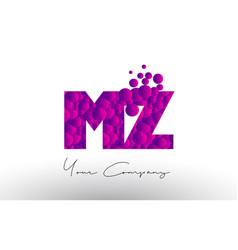 Mz m z dots letter logo with purple bubbles vector