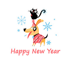 New years bright postcard with a cat and a dog vector