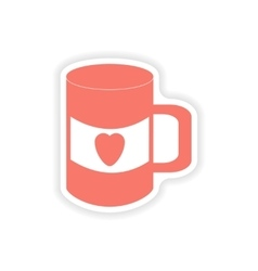 Paper sticker on white background cup heart vector