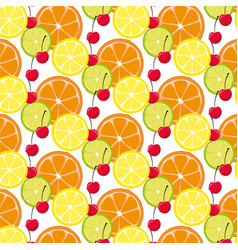 pattern with citrus fruits and sherry vector image