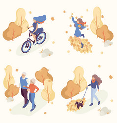 people in autumn park having fun and walk vector image