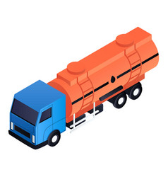 Petrol cistern truck icon isometric style vector