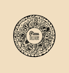 Pizza delivery logo modern pizzeria emblem vector