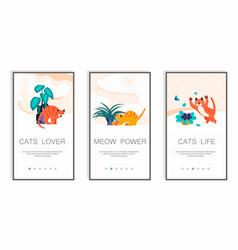 Playful kitten mobile app screens vector