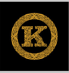 premium elegant capital letter k in a round frame vector image