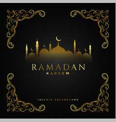 premium ramadan kareem festival golden background vector image