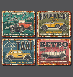 retro cars rent taxi service rusty plate vector image