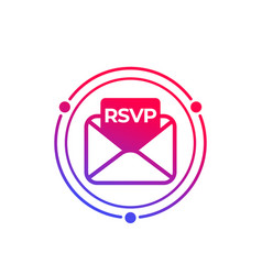 Rsvp icon with envelope vector