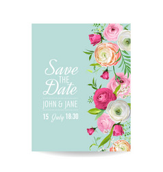 Save the date card with blossom ranunculus flowers vector