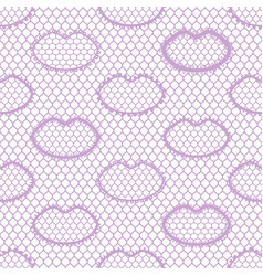 Seamless lace pattern with lips vintage textile vector