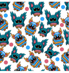 Seamless pattern with fantastic cute owl vector