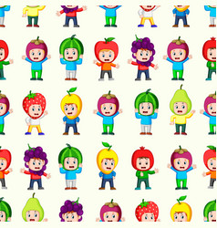 Seamless pattern with happy children vector