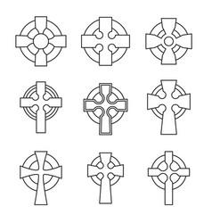 set celtic crosses for religious design vector image
