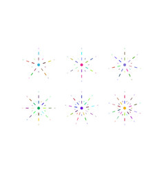 Set of snowflakes of multicolored dashed lines vector
