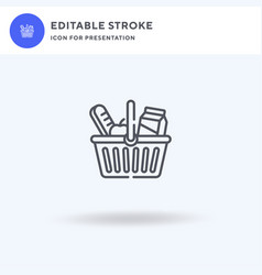 Shopping basket icon filled flat sign vector