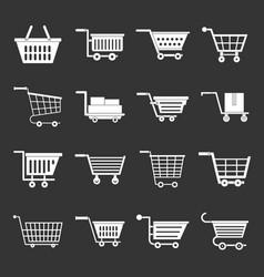 Shopping cart icons set grey vector