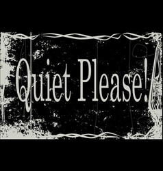Silent movie frame quiet please vector