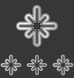 Silver line technology logo design set vector