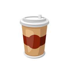 stylized paper cup with coffee vector image