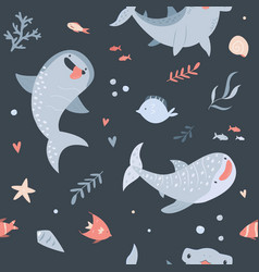 Summer seamless pattern with hand drawn sharks vector