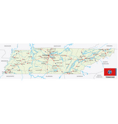 Tennessee road map with flag vector