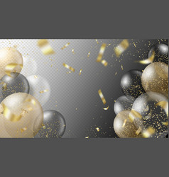 Transparent realistic balloons and golden confetti vector