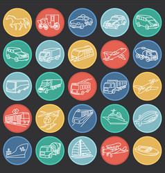 transportation and vehicles thin line on color vector image