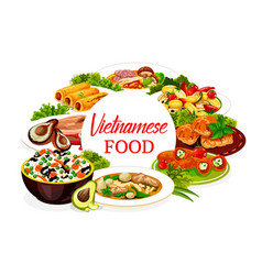 Vietnamese dishes icon with fish meat and dessert vector