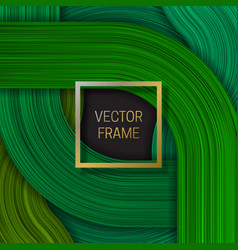 Volumetric frame on saturated background in green vector