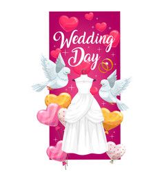 Wedding ceremony dress and engagement rings vector