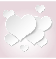 White valentine hearths from paper decoration vector