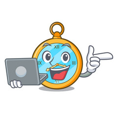 With laptop pocket vintage watch on a cartoon vector