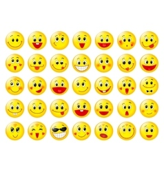Yellow happy round emoticon faces set vector