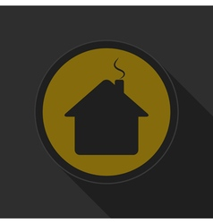 Yellow round button - black home with chimney icon vector