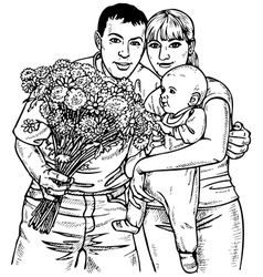 Family and flowers vector image vector image