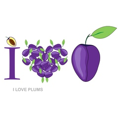 i love plums vector image