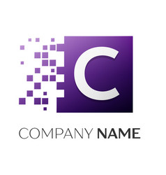 Letter c logo symbol in the colorful square with vector