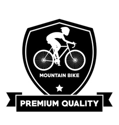 Man riding bike inside shield and ribbon design vector