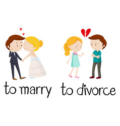 opposite words for marry and divorce vector image vector image