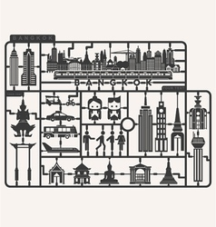 Plastic model kits required set of Bangkok city vector image vector image