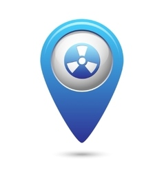 Radioactive icon on blue map pointer vector image