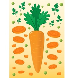 Vegetable mix with carrot and peas vector
