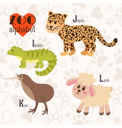 Zoo alphabet with funny animals I j k l letters vector image