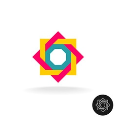 Abstract colorful square frame corner logo Outline vector image vector image