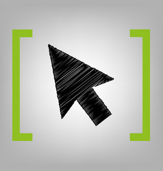 arrow sign black scribble vector image