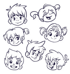 cartoon children heads icons vector image