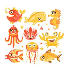 cute cartoon sea creatures marine life vector image