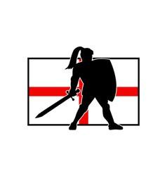 English Knight Shield Sword England Flag Retro vector image vector image
